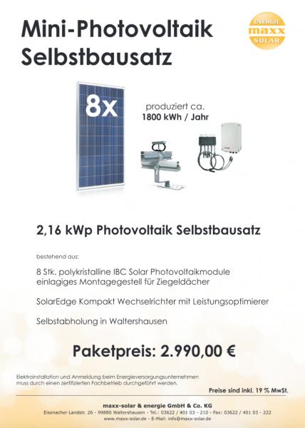 Prospekt für einen Bausatz Photovoltaik mit IBC Modulen