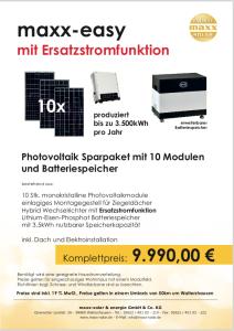 PV-Anlage mit Ersatzstromfunktion, Batterie für 9990,-€. Das maxx easy backup. Ein Prospekt.