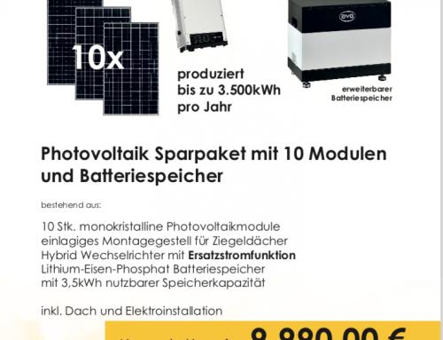PV-Anlage mit Ersatzstromfunktion, Batterie für 9990,-€